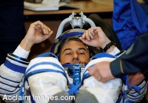 Clip Art Photo of Technicians Checking Space Suit Pressure for an Astronaut