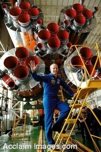 Clip Art Photo of Astronaut Jeffrey N. Williams Touring the Soyuz Assembly Building, Baikonur Cosmodrome