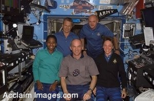 Clip Art Photo of Astronauts Male and Female Astronauts on the Space Station
