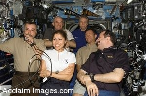 Clip Art Photo of American and European Astronauts on the International Space Station