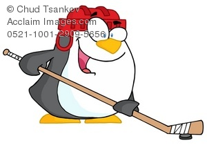 penguin hockey player cartoon