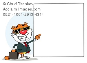 Cartoon tiger salesman pointing to a big blank sign