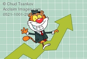 Cartoon tiger businessman writing a business chart going up, up, up