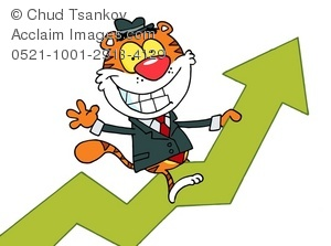 Successful businessman depicted by a cartoon Tiger riding a graph showing increasing profits