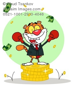 Successful cartoon tiger with boxing gloves fighting for success