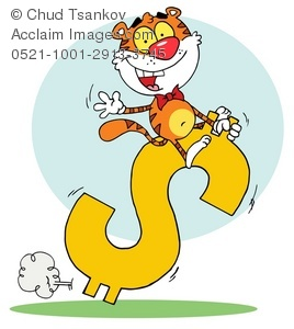 Cartoon Tiger riding a dollar sign to success