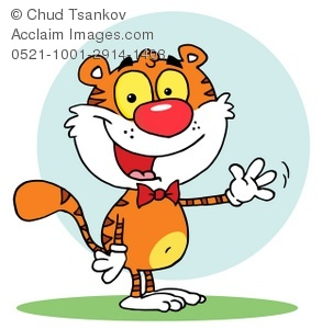Happy cartoon Tiger waving and wearing a bowtie