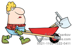 Country housewife doing yard work, pushing a wheelbarrow with tools in it