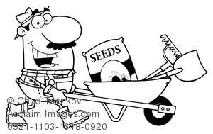 coloring page of farmer planting seeds