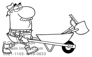 coloring page of farmer pushing a wheelbarrow