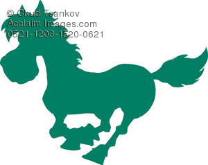 green silhouette of a horse galloping