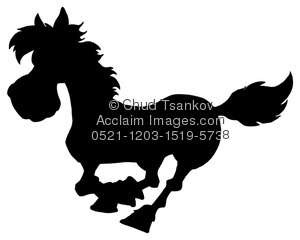 Wild horse running fast in silhouette