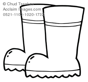 coloring page of a pair of boots used on a rainy day