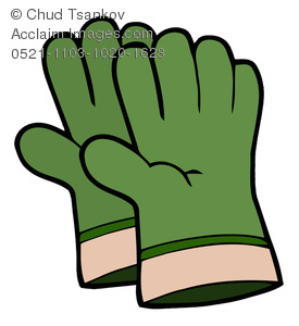 a pair of green gloves used by a gardener