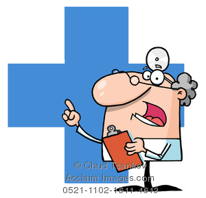 medical doctor drawn in a cartoon style with stethoscope and clipboard
