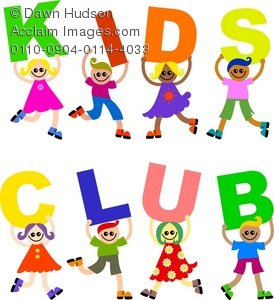 "Cute cartoon kids, boys and girls, holding up a ""kids club"" sign"