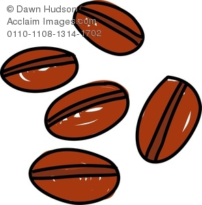 Cartoon drawing of coffee beans isolated on a white background