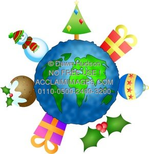 Globe of the earth with Christmas icons surrounding it