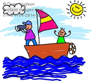 Kids sailing a sailboat on an adventure