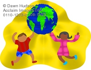 Two children of the world holding up a globe