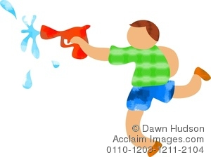kid shooting water with a squirt gun in summer