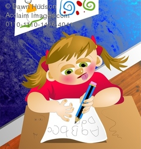 cartoon girl child at desk in classroom writing her ABC's for a school assignment