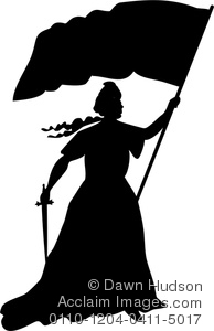 old fashioned image of medival woman holding a flag and sword