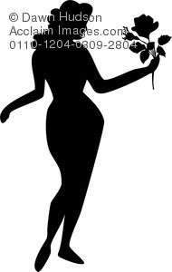 sexy woman holding a rose silhouette