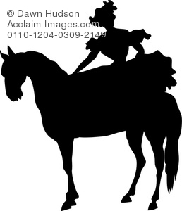 silhouette of a woman on a horse