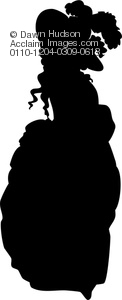 victorian era lady with extravagant dress and hat in silhouette