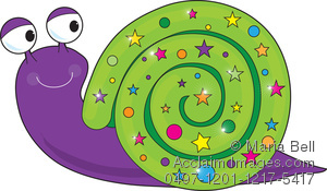 Cute cartoon snail with a smile on its face and a fancy, decorated shell