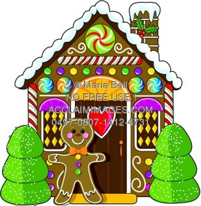 gingerbread man standing by his gingerbread house in a brightly rh clipartguide com gingerbread house cartoon pictures gingerbread man house cartoon