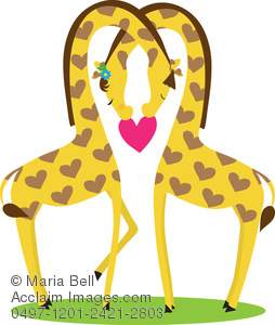 Two cartoon giraffes showing their love for one another