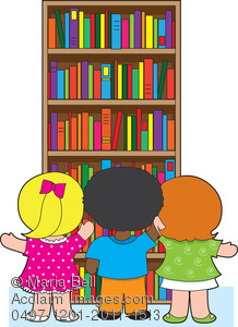 Kids getting books off of a bookcase in the library