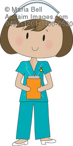 Pretty young cartoon nurse holding a clipboard in a hospital