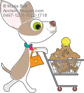 female dog shopping with shopping cart cartoon