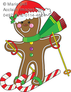 Gingerbread man snow skiing on candy canes