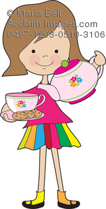 Girl child preparing tea for her tea party