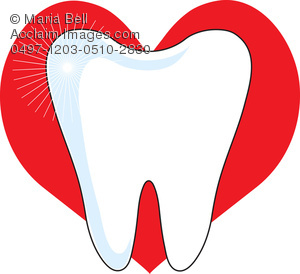 healthy tooth and a red heart