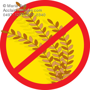 "stalk of wheat with a red crossed out circle over it to signify ""no wheat"""