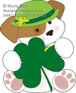 puppy dog with shamrock and irish bowler hat for st patricks day celebration