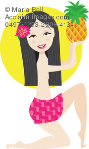 hawaiian girl with pineapple, flower in her hair and long, black hair