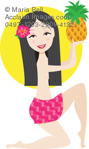 scene from hawaii: hawaiian girl with hibiscus flower in hair holding a pineapple