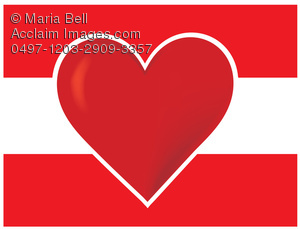 "flag of austria with a heart, as in ""I Love Austria"""