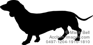 dachshund or wiener dog in silhouette