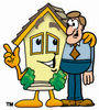 Cartoon House With Man clipart