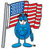 Cartoon Water Drop with American Flag Clipart Picture clipart