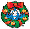 Cartoon Water Drop Character with Christmas Wreath Clipart Picture clipart