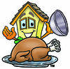 Cartoon House Character with Turkey Clipart Picture clipart