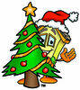 Cartoon House Character  with a Christmas tree Clipart Picture clipart